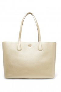 Metallic textured-leather tote