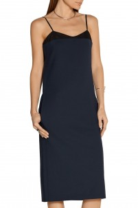 Milano mesh-trimmed stretch-wool dress