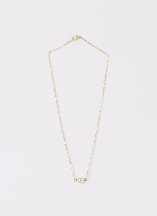 Bauble Bible Single Pearl Dainty Necklace
