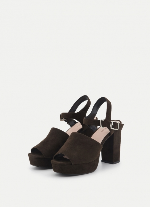 Moussy Brown Buckle Sabot Sandals