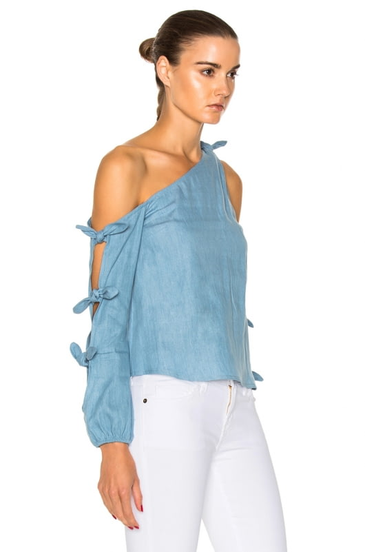 NICHOLAS Chambray Knot One Shoulder Top