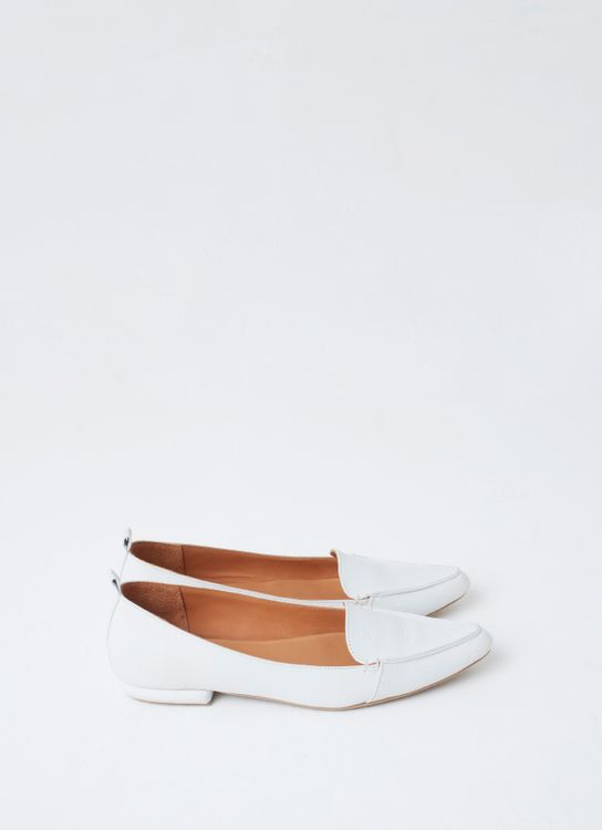 Aschas White Hepburn Flat Shoes