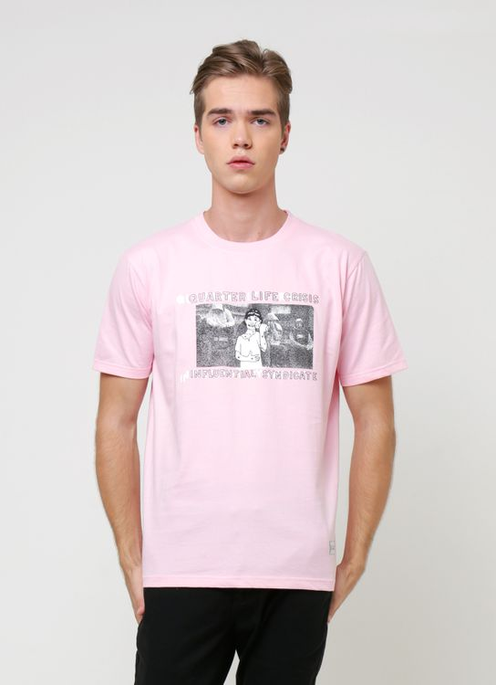 Influential Syndicate Pink Q.L CRISIS Basic T-Shirt