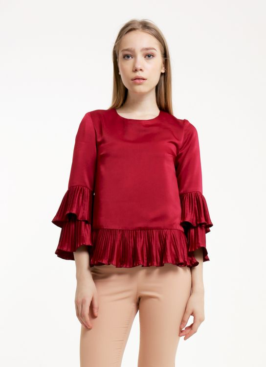 CDC The Label Maroon 'Just A Kiss' Pleated Top