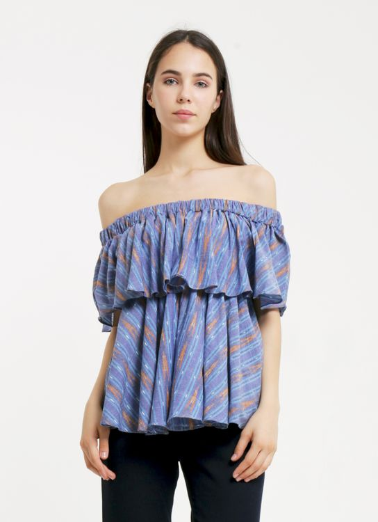 IKAT Indonesia by Didiet Maulana Blue Off Shoulder Top