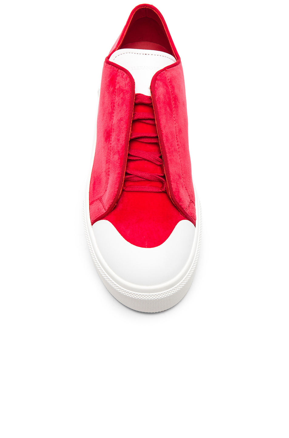 a7f95bc3a1f Buy Original Alexander McQueen Velvet Platform Lace Up Sneakers at ...