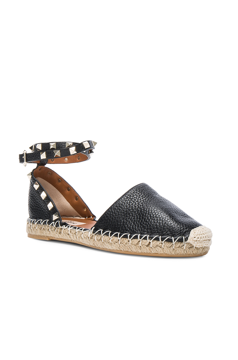 6b4bb9d75317 Buy Original Valentino Rockstud Double Flat Leather Espadrilles at ...