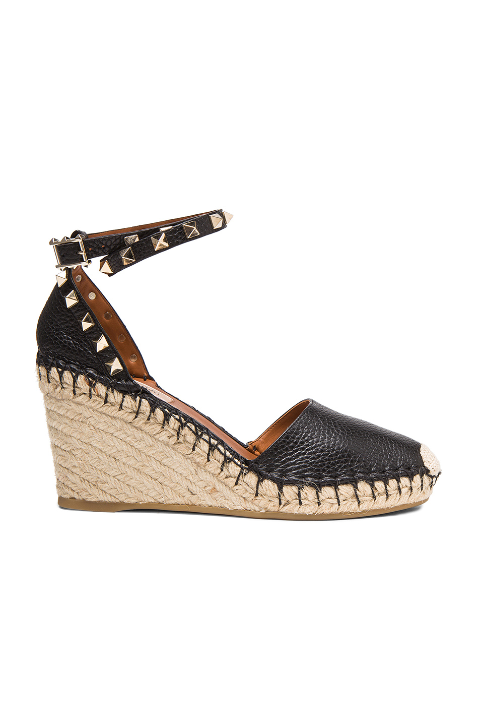 00f9a86638b Rockstud Double Espadrille Leather Wedges, Valentino