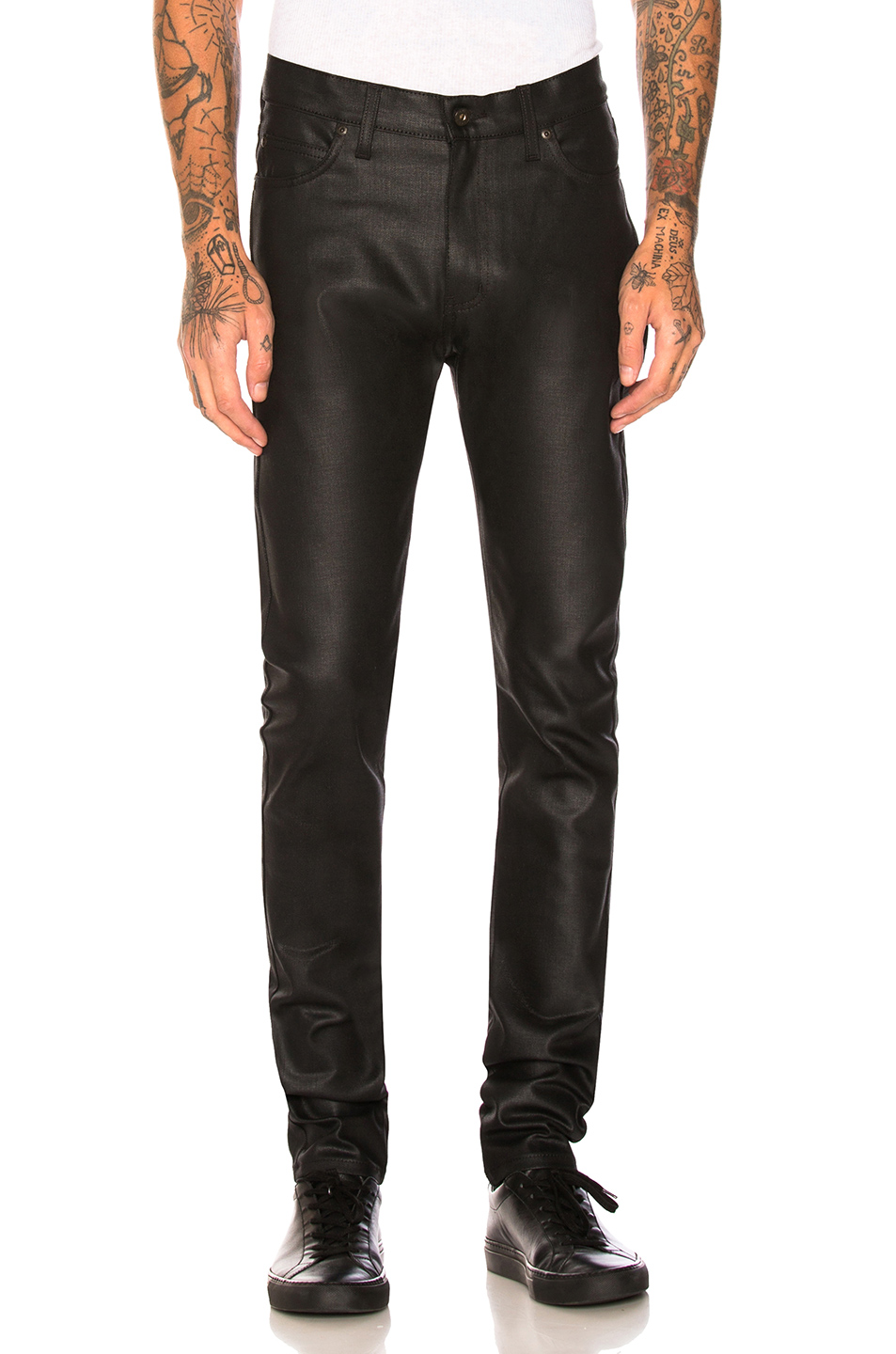 Naked /& Famous Denim Mens Super Guy Black Waxed Stretch Jeans