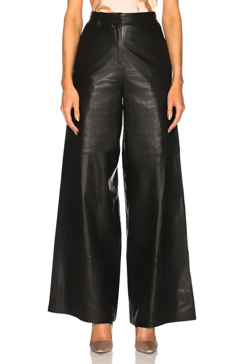 Understated Leather Ultimate for FWRD Leather High Waisted Wide Leg Trousers
