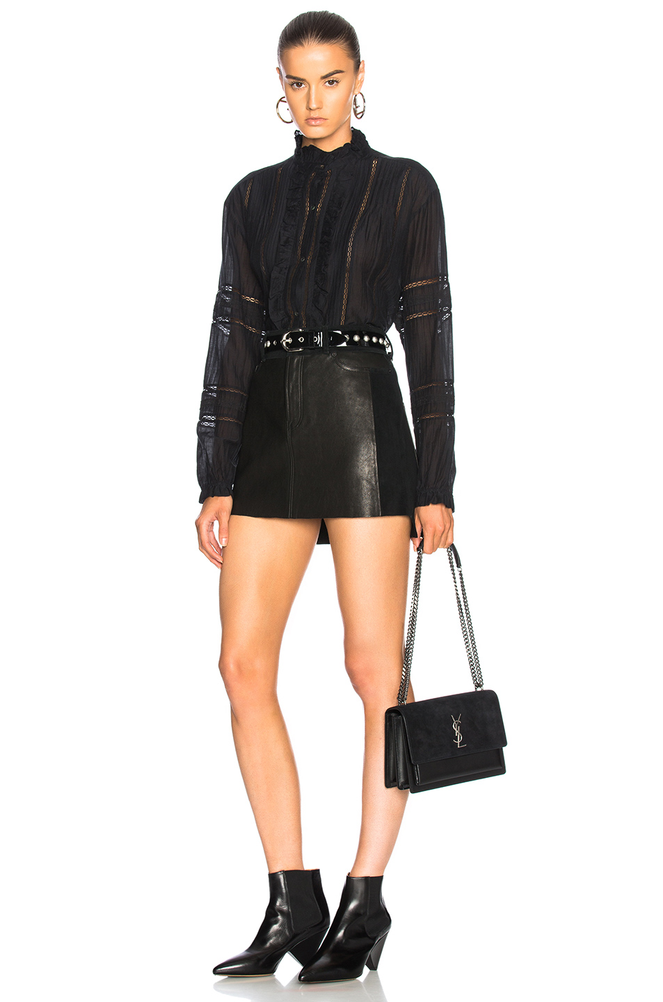 Leather and Suede Mix Skirt, FRAME
