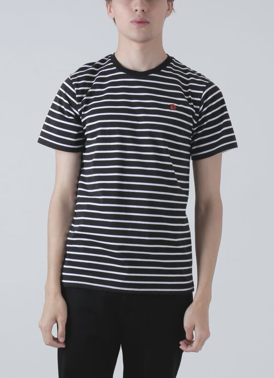 Jackhammer Co Black & White Beaver Striped Tee