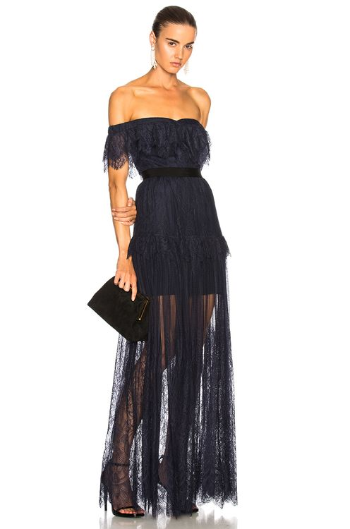 Self Portrait Off Shoulder Fine Lace Maxi Dress