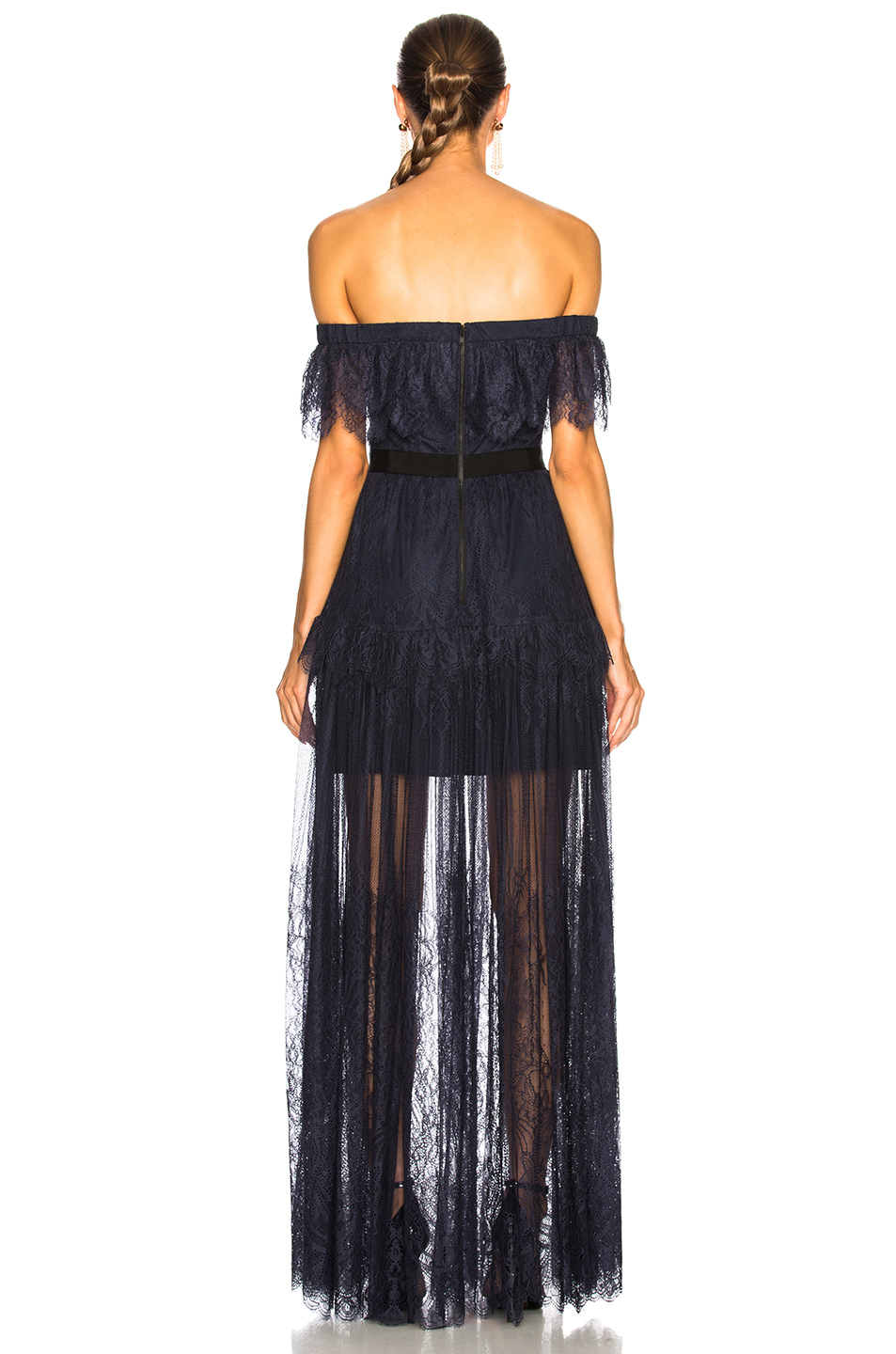 self-portrait Off Shoulder Fine Lace Maxi Dress