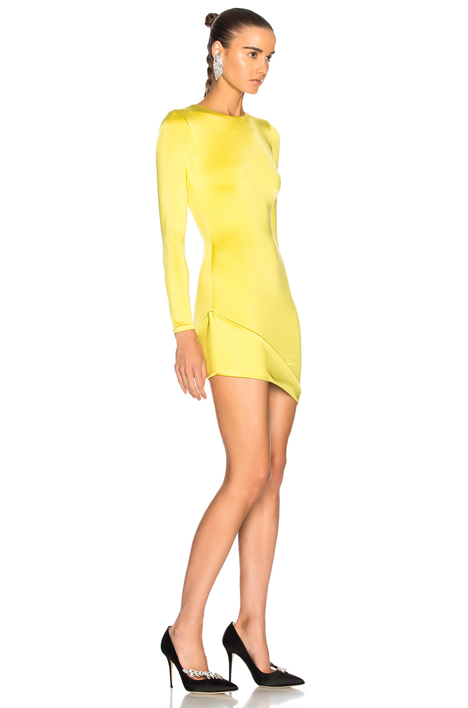 658220e569f ... Cushnie et Ochs Asymmetrical Hem Long Sleeve Mini Dress ...