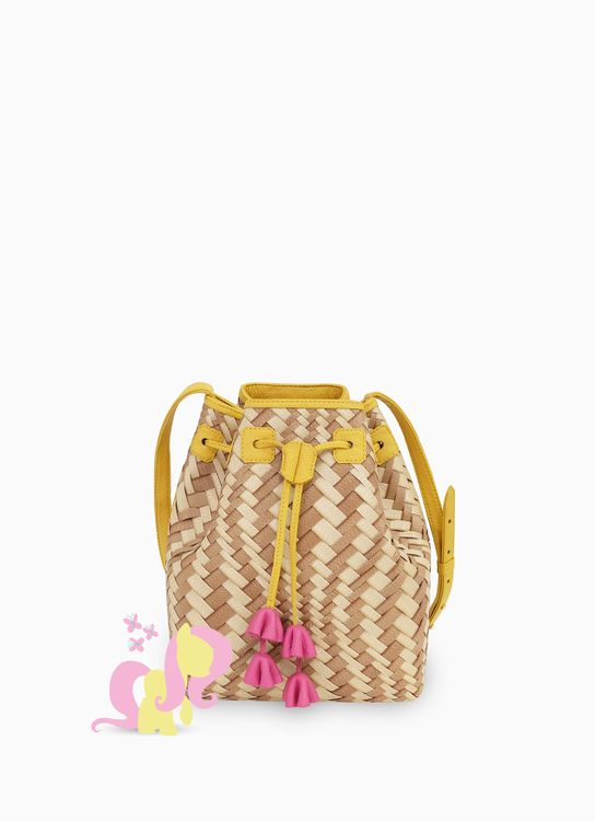 Chameo Couture Brown & Yellow Britt FlutterShy Bucket Bag