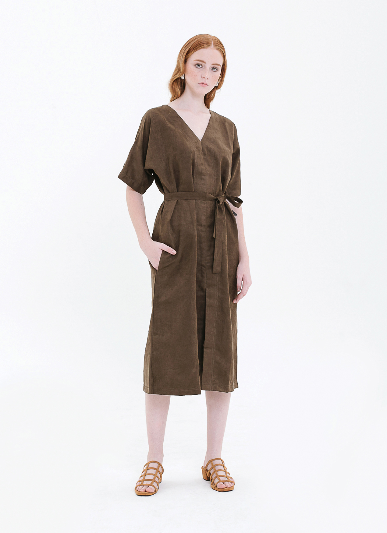 63f303876aa Buy Original Eesome Olive Remi Suede Dress at Indonesia ...