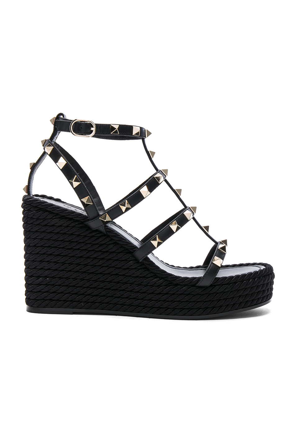 74151ac6990 Leather Torchon Rockstud Espadrille Wedges, Valentino