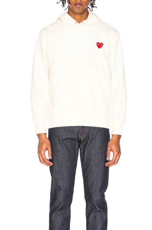 Comme Des Garcons PLAY Pullover Hoodie with Red Emblem