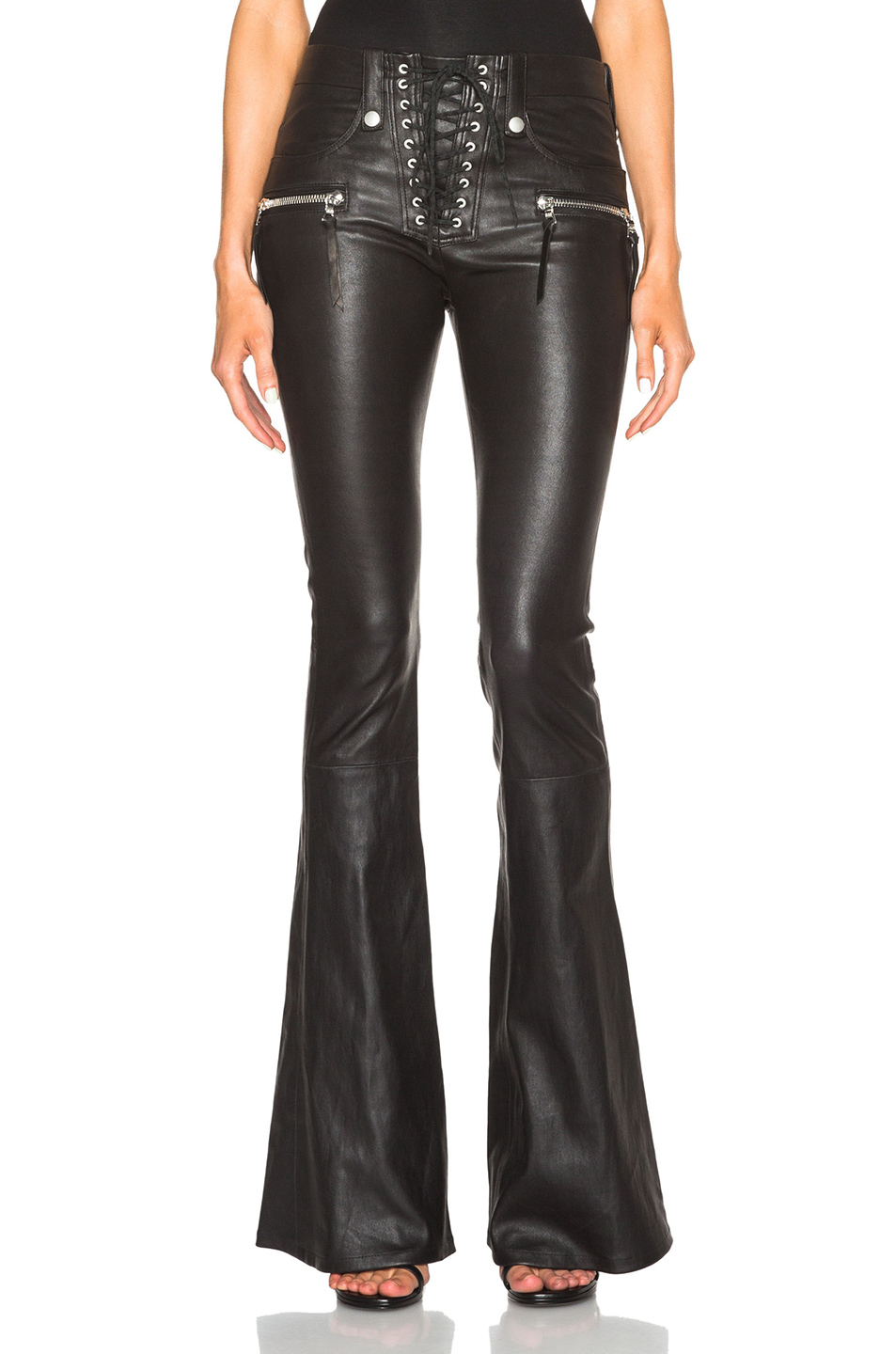 coupon codes search for genuine biggest selection Lace Front Flare Leather Pants, Unravel