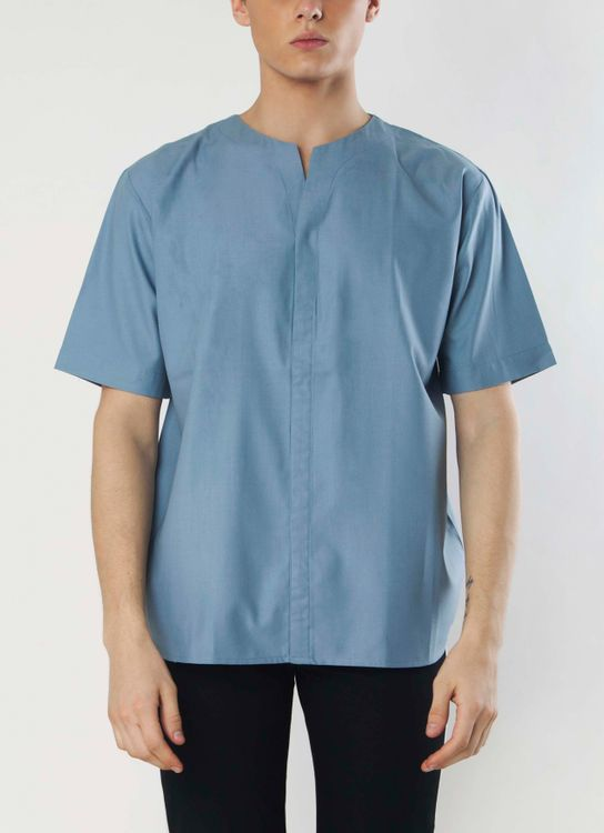 Gavi Blue Slip Cut Short Sleeves Shirt