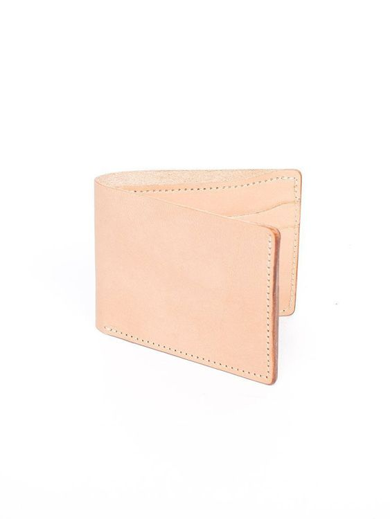 Wood&Faulk Wood&Faulk Classic Bifold Natural Vegetable Tan Wallet