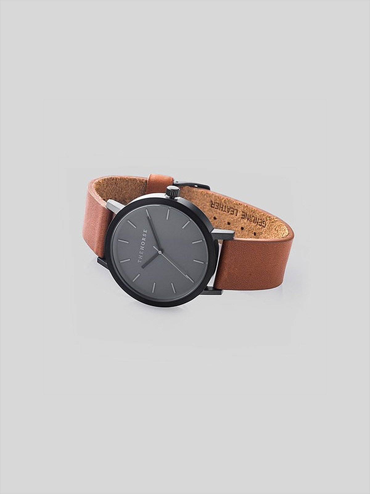 The Horse The Horse Matte Black / Tan Leather Watch