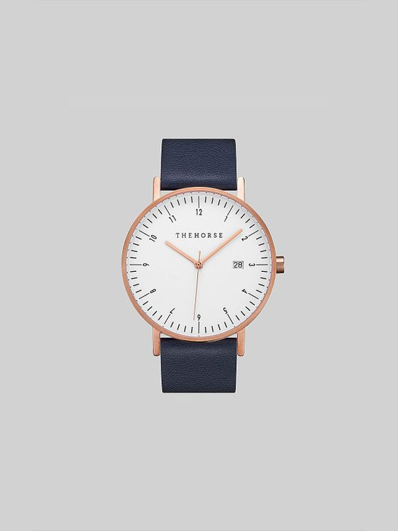 The Horse The Horse D-Series Brushed Rose Gold Navy Leather Watch