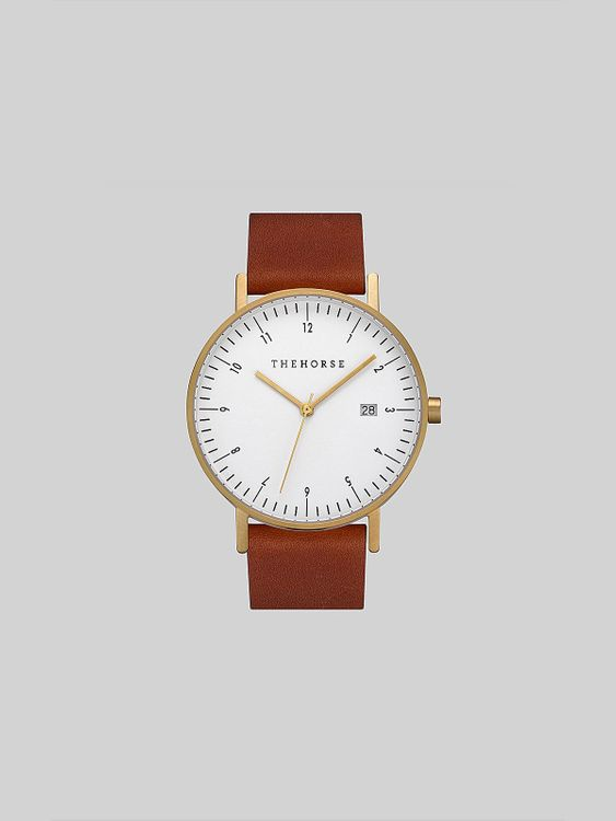 The Horse The Horse D-Series Brushed Gold Tan Leather Watch