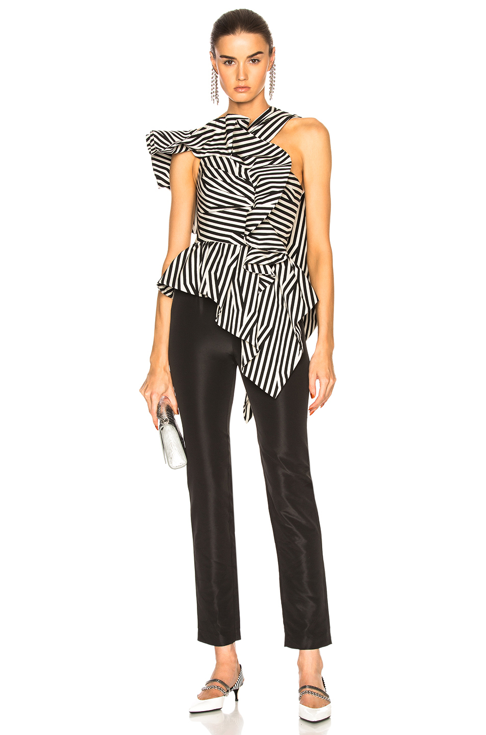 7b9f8634bbcc Buy Original self-portrait Asymmetric Stripe Ruffle Jumpsuit at ...