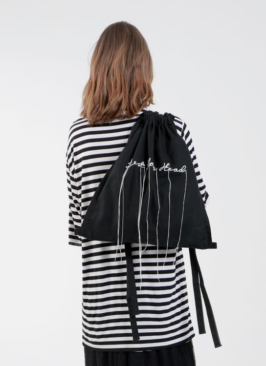 "Satchel Black ""Tense"" Embroidery Drawstring Bag"