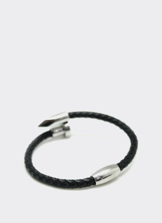 The Cufflinks Store Black Nail Leather Bracelet