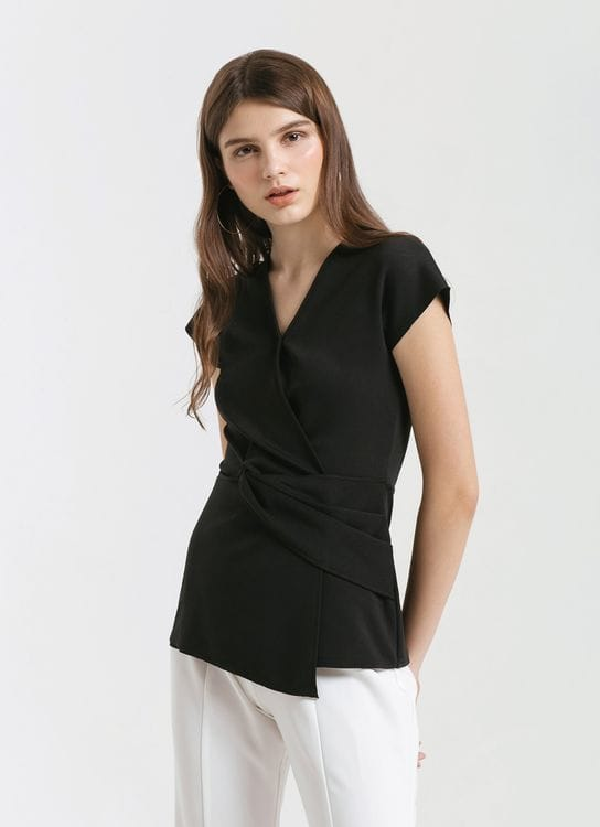 CLOTH INC Black Lana Twisted Top