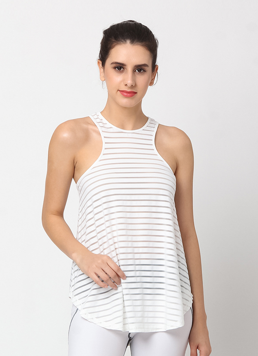 Cuca Active White Stripes New York Tank Top