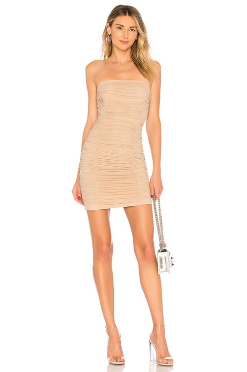 by the way. Ivanna Ruched Sheer Strapless Dress