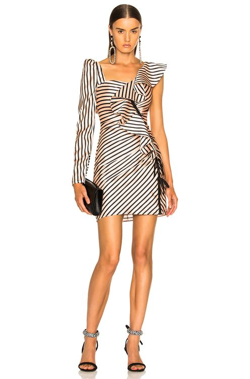 Self Portrait Striped Flounce Mini Dress