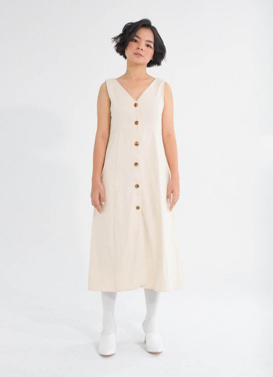 Tees and Scissors Light Brown Classic Six Buttoned Dress