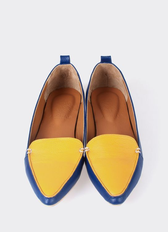 Aschas Yellow & Blue Hepburn Flats