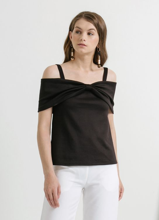 CLOTH INC Black Off Shoulder Bow Top