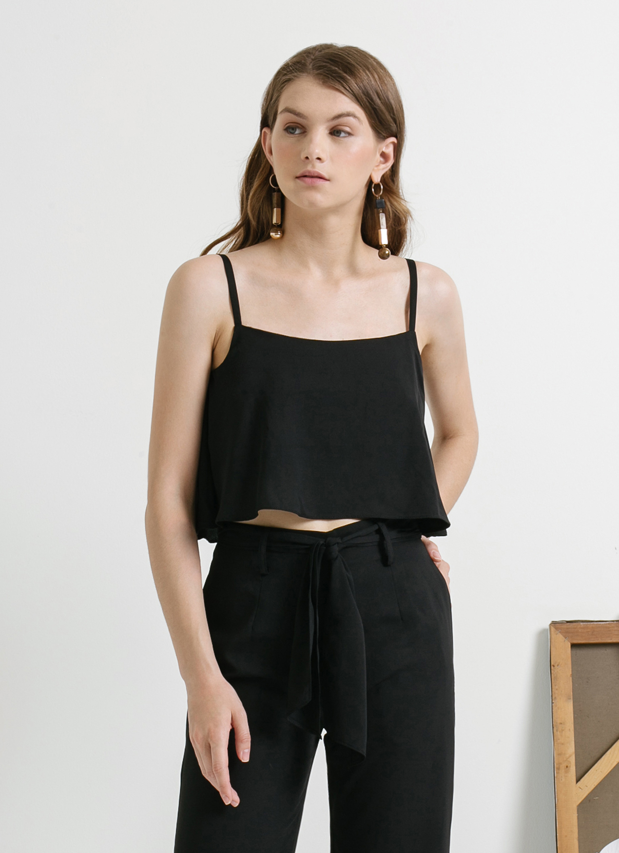 CLOTH INC Black Ruffle Cropped Tank Top