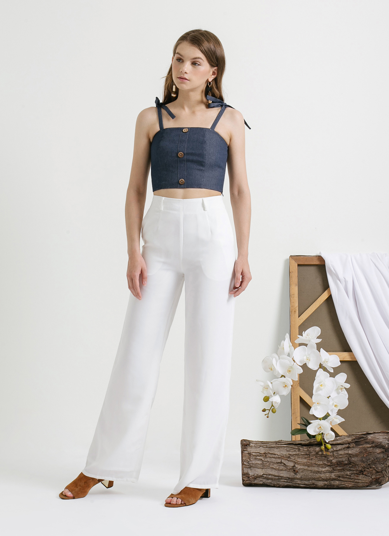 CLOTH INC Blue Button Denim Bralette Top