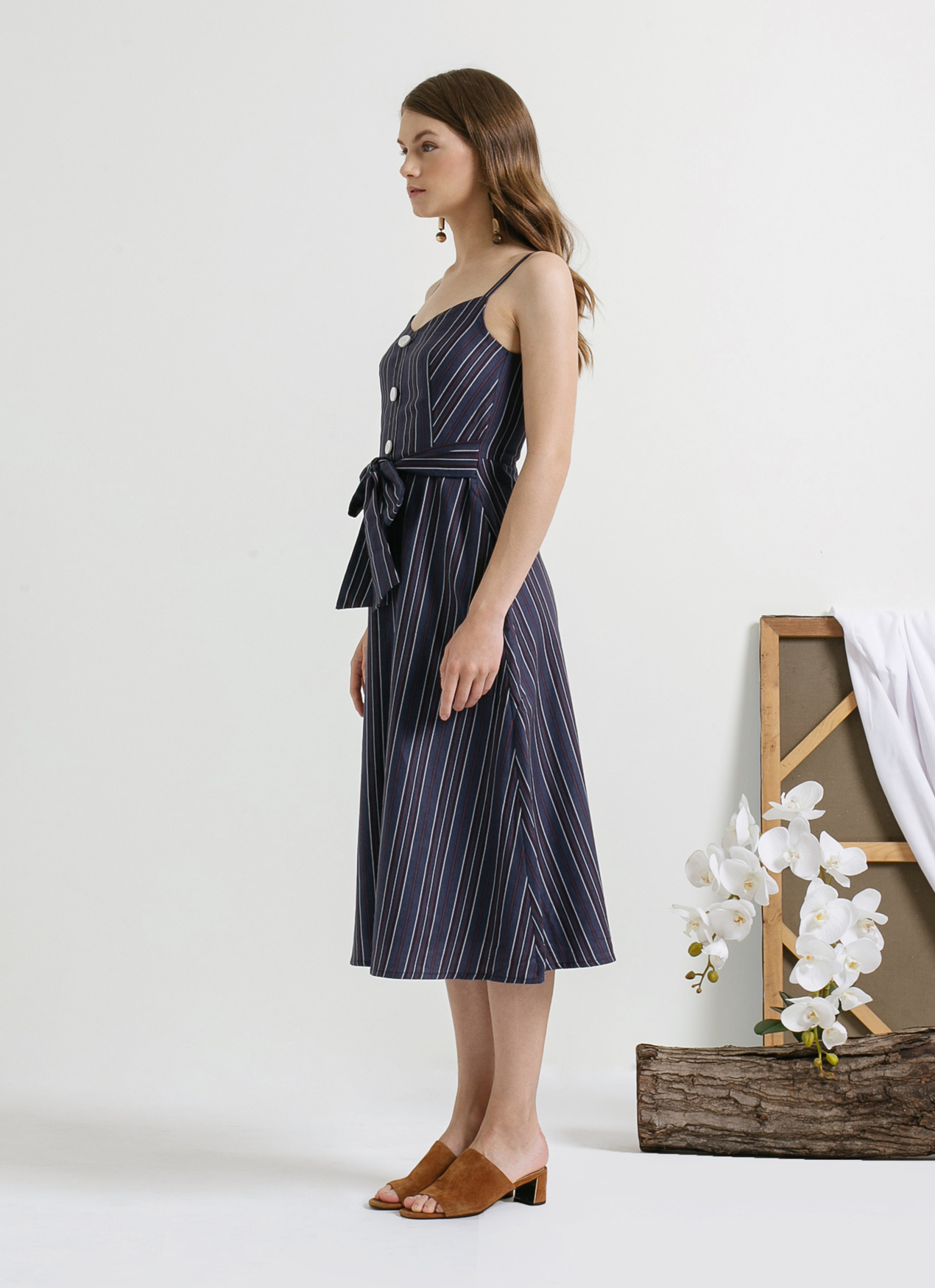 CLOTH INC Blue Stripe Bay Tied Waist Dress