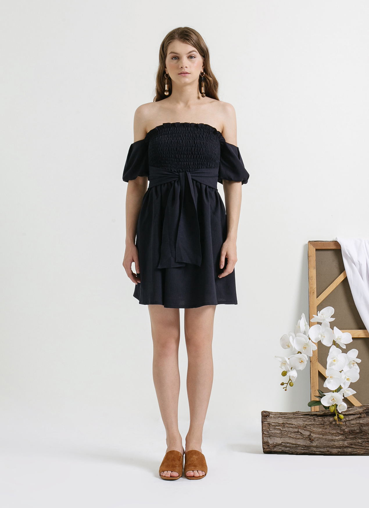 CLOTH INC Navy Smocked Off Shoulder Dress