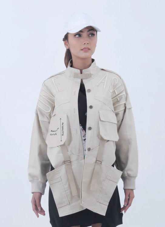 Alifia Maqnuun Beige Unleashed Fold Jacket