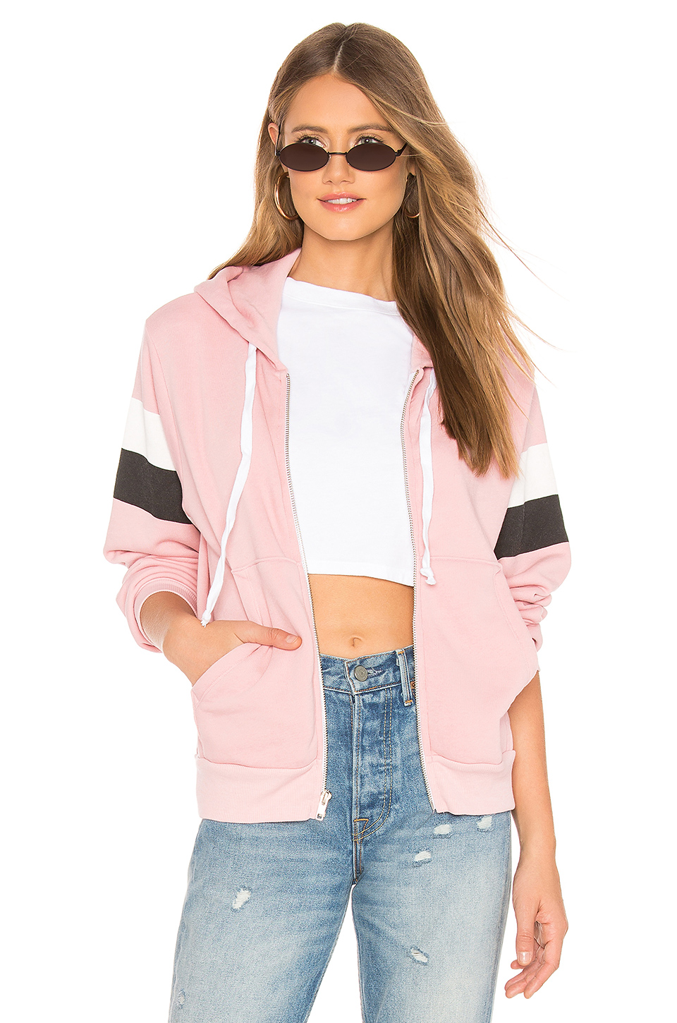 Wildfox Couture Varsity Stripe Regan Zip Hoodie