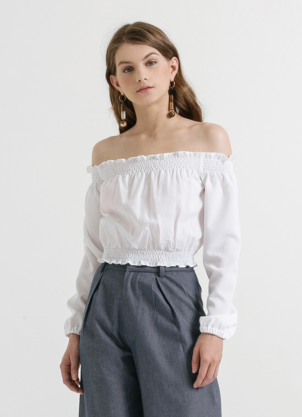 CLOTH INC White Genie Off Shoulder Top