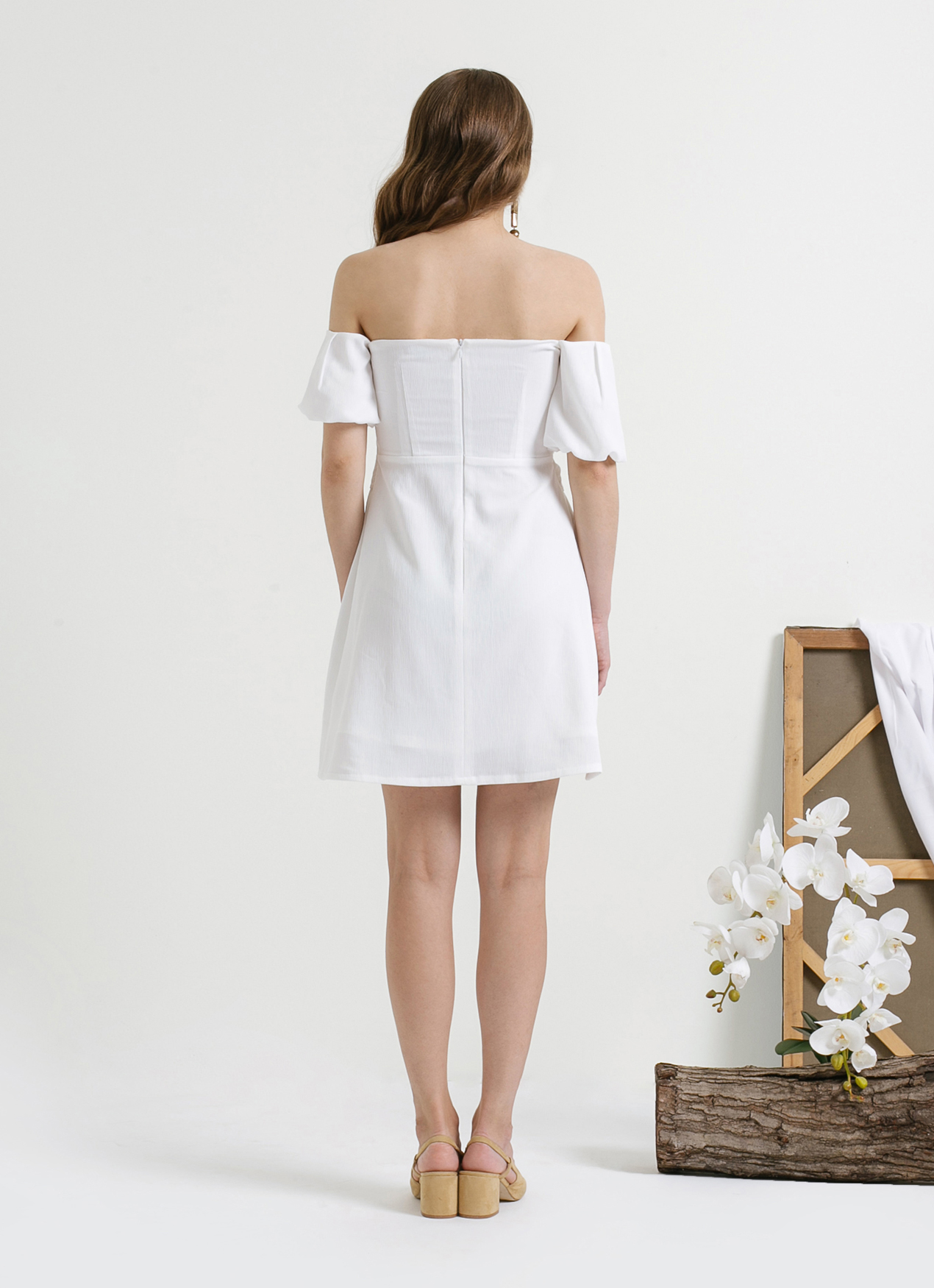 CLOTH INC White Smocked Off Shoulder Dress