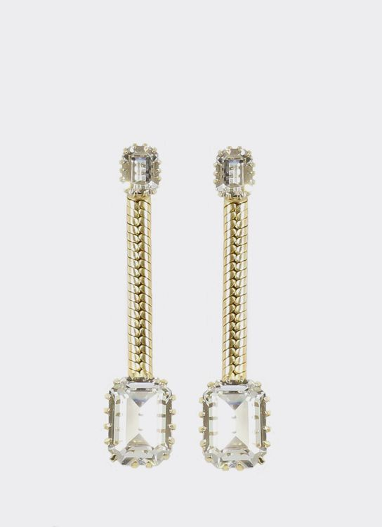EPAJewel Gold Dangling Square Crystal Earring