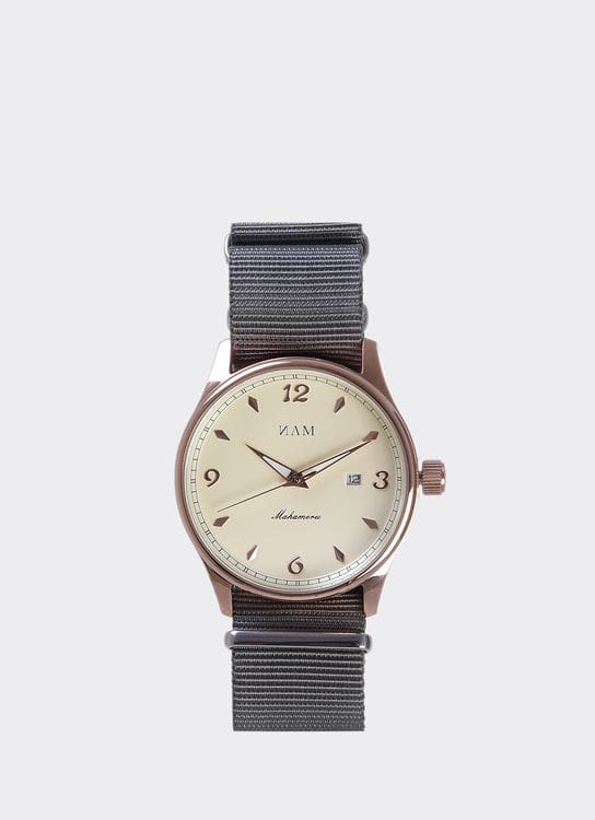 NAM Watch Cream Dial Mahameru Quartz with Gray Nato Strap MH-088 Watch