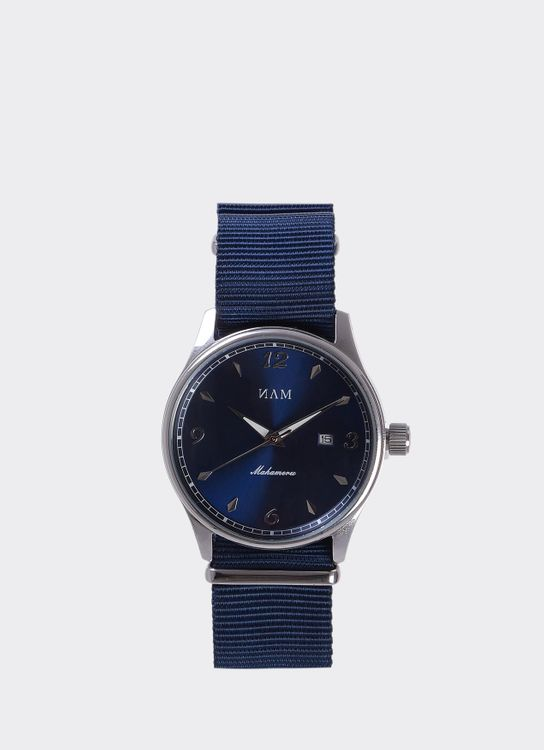 NAM Watch Blue Dial Mahameru Quartz with Navy Nato Strap MH-097 Watch